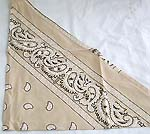 Muddy yellow with oriental pattern design cotton triangle head bandana head scarf with tie