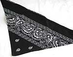Cotton made of black color triangle head bandana head scarf with white paint decor, tie string at the end