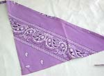 Purple color white paint floral design decor triangle head bandana head scarf with tie string