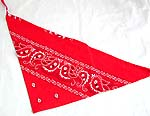 Bright red color with white paint floral design triangle head bandana head scarf with tie string