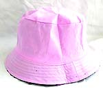 Flippable fashion cotton double sided bucket hat, one side of neutral light purple, and flipped over for pattern decor dark purple with zipper design