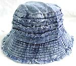Flippable fashion cotton double sided bucket hat, one side of dark blue jean fashion, and flipped over for pattern decor light blue jean design