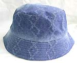 Flippable fashion cotton double sided bucket hat, one side of light blue jean fashion, and flipped over for pattern decor darker blue jean design
