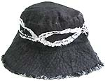 White pattern decor natural black fashion cotton hat