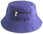 Double sided cotton bucket hat, one side of white, and flipped over for purple color with zipper design
