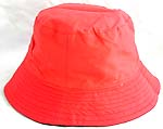 Double sided cotton bucket hat, one side of plain orange fashion, and flipped over for darker red color with zipper design