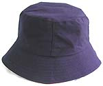 Fashion cotton double sided bucket hat, one side of natural blue, and flipped over for sun red with zipper design