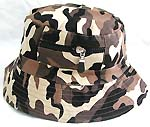 Fashion cotton double sided bucket hat, one side of neutral white, and flipped over for army fashion with zipper design