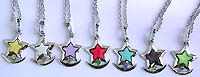 Enamel assorted color star on cz moon pendant fashion necklace