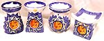 Assorted design blue color painted orange sun moon pattern decor fashion ceramic oil burner, set of 4 pieces