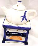 Tea pot design ceramic oil burner with stand