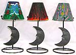Assorted color and design angel / moon pattern table lamp style fimo iron candle holder