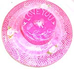 Full moon style romantic pink color 'I LOVE YOU' fashion candle made of ceramic clay