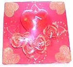 Happy red color retangular tray heart love style fashion candle made of ceramic clay