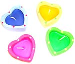 Assorted color heart love fashion candle set, 4 pieces per set