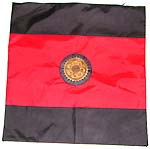 Flag style design polyester cushion cover with black edge and majestic symbol set in the middle reddish section