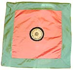 Greenish edge surrounding orange tone middle section with majestic symbol design fashion polyester cushion cover
