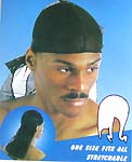 Wrinkle free breathable polyester stretchy fashion durag with long tail, black, one size fits all