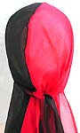Half red half black design breathable wrinkle free polyester fashion durag with long tail, ultra stretch, each durag comes in its own clear package ready for rack display, one size fits all
