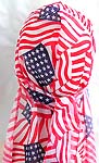 Breathable wrinkle free American flag stye polyester fashion durag with long tail, ultra stretch, each durag comes in its own clear package ready for rack display, one size fits all