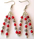 Bali silver rounded beads and red faux stone forming three strings pattern fashion fish hook earring