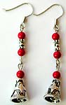 Three faux red stone beaded Bali bell shape pattern fashion fish hook earring
