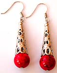 A rounded faux red stone beaded Bali musical pattern fashion fish hook earring