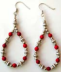 Multi Bali silver rounded beads and red faux stone forming bracelet loop pattern fashion fish hook earring