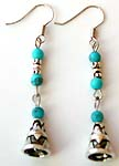 Three imitation turquoise stone beaded Bali bell shape pattern fashion fish hook earring