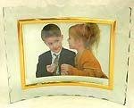 Fashion curved stand glass picture frame with golden edge
