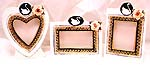 Swan design assorted shape pattern stand hand painting ceramic picture frame set