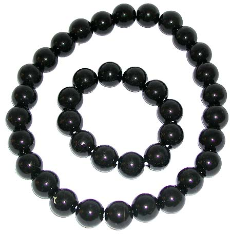 Smooth finishing multi black color rounded plastic beads forming stretchy fashion necklace and bracelet set