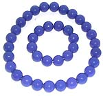 Multi rounded dark blue plastic beads forming stretchy fashion necklace and bracelet set