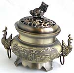 Majestic swan handle design ancient oriental iron incense burner with lid