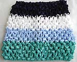 Four color section design stretchable crochet headwrap