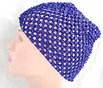 Natural blue color stretchable crochet headwrap