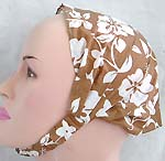 Muddy brown with white flower pattern design cotton head bandana head scarf with stretchable end