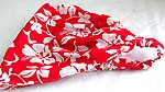 Bright red with white flower pattern design cotton head bandana head scarf with stretchable end