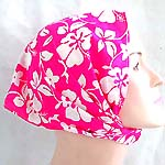 Romantic pink color with white flower pattern design cotton head bandana head scarf with stretchable end