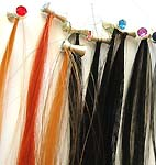Assorted color clip-on synthetic hair strip