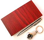 Assorted design clock key chain with a pen wooden box set