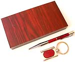 Assorted color key chain with a pen wooden box set