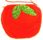 Red apple with green leaf design fashion beaded purse