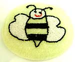 Milky white fashion beaded purse with 'happy bee' pattern design