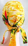 Yellow and green Hawaii style fashion cotton skullcap with tie