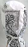 Pure white fashion cotton skullcap with black pattern design, tie at the back