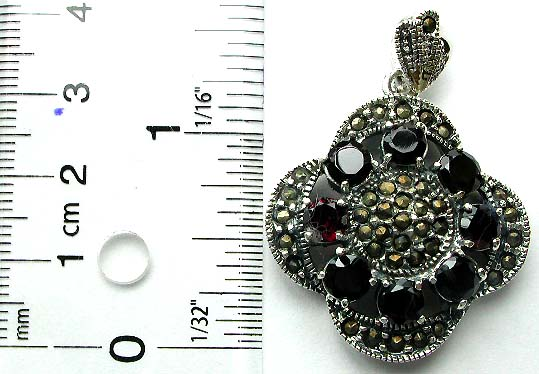 Multi marcasites and red garnet stone forming sun flower pattern sterling silver pendant