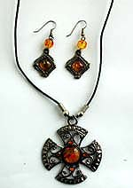Cotton black rounded cord fashion necklace and earring set with imitation amber embedded on Celtic cross shape pendant