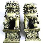 Gold plated resin made of lion guard stand set, set of two