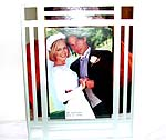 Fashion retangular glass picture frame, line and square pattern